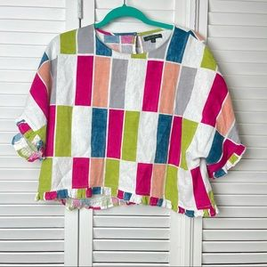 For Cynthia Colorful Linen Viscose Ruffled Crop